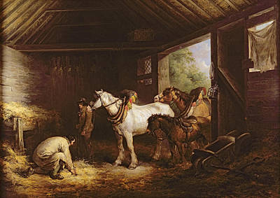 Inside A Stable Oil On Canvas Art Print by George Morland