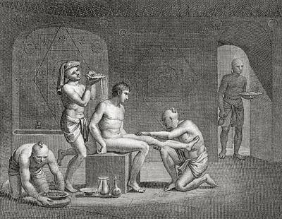 Relaxing Drawing - Inside An Egyptian Bathhouse, C.1820s by Dominique Vivant Denon