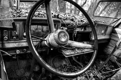 Inside An Old Jeep In Black And White Art Print