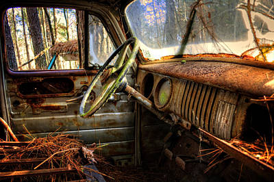 Old Photograph - Inside An Old Truck by Greg Mimbs