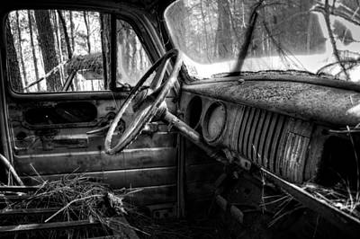 Old Photograph - Inside An Old Truck In Black And White by Greg Mimbs