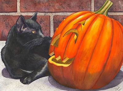 Wicked Kitty Painting - Inside Joke by Catherine G McElroy