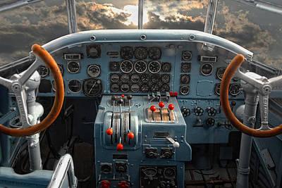 Cockpit Photograph - inside JU 52 by Joachim G Pinkawa