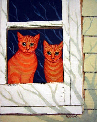 Painting - Orange Cats Looking Out Window by Rebecca Korpita