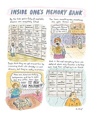 History Drawing - 'inside One's Memory Bank' by Roz Chast