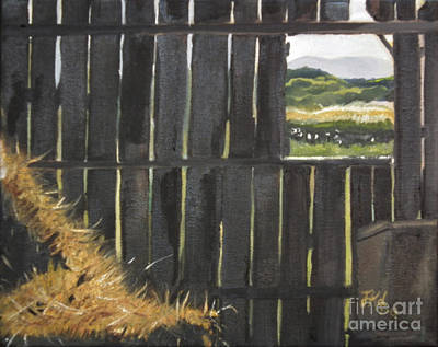 Painting - Barn -inside Looking Out - Summer by Jan Dappen
