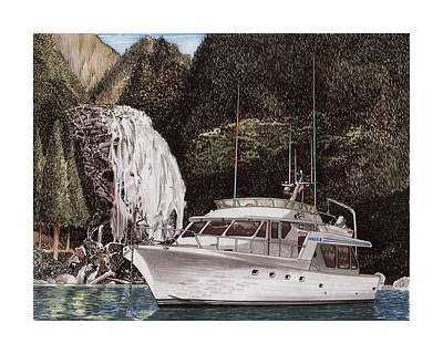 Classic Marine Art Painting - Chatterbox Falls Safe Anchorage by Jack Pumphrey