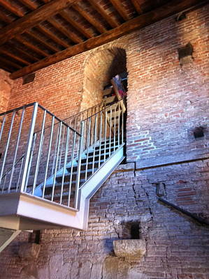 Inside Stairway Of Old Tower In Lucca Italy Art Print