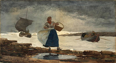 Winslow Homer Drawing - Inside The Bar by Winslow Homer