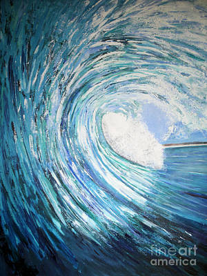 Surfing Painting - Inside The Barrel by RJ Aguilar