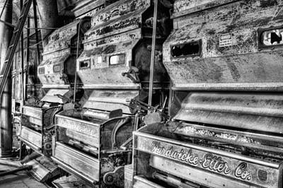 Inside The Cotton Gin Black And White Art Print by JC Findley