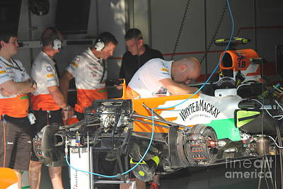 Photograph - Inside The Force India Garage by David Grant