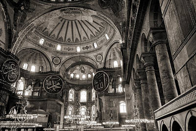 Photograph - Inside The Hagia Sophia Istanbul Black And White by For Ninety One Days