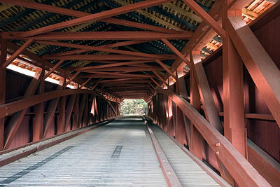 Photograph - Inside The Hillsgrove Covered Bridge by Gene Walls