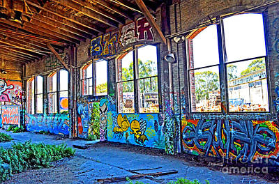 Photograph - Inside The Old Train Roundhouse At Bayshore Near San Francisco And The Cow Palace Altered II by Jim Fitzpatrick
