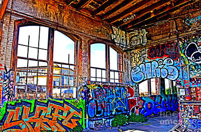 Photograph - Inside The Old Train Roundhouse At Bayshore Near San Francisco And The Cow Palace Altered by Jim Fitzpatrick