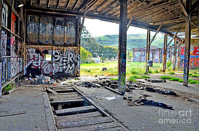 Photograph - Inside The Old Train Roundhouse At Bayshore Near San Francisco And The Cow Palace Iv by Jim Fitzpatrick