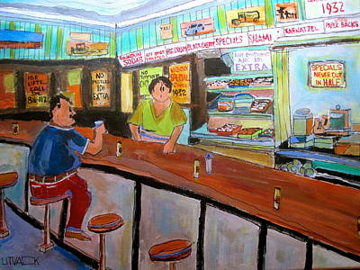 Le Plateau. Montreal Memories Painting - Inside Wilensky's by Michael Litvack