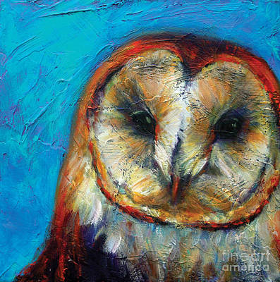 Abstract Wildlife Painting - Insight Barn Owl by Rosemary Conroy