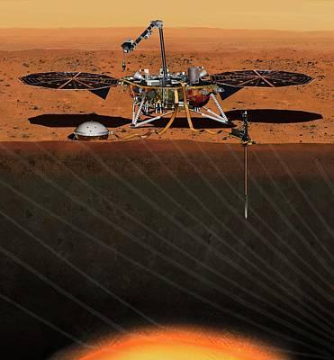 Insight Lander On Mars Art Print by Nasa/jpl-caltech