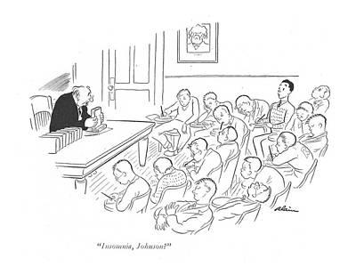 Insomniac Drawing - Insomnia, Johnson? by  Alain