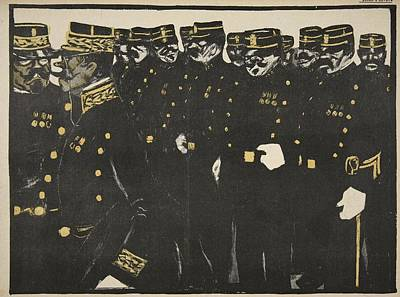 Caricature Drawing - Inspection Of A Line Of Police by Georges d' Ostoya