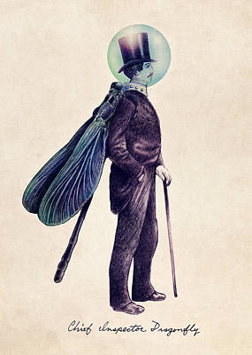 Whimsical Drawing - Inspector Dragonfly by Eric Fan