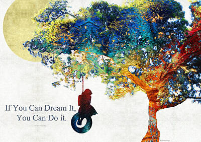 Dreamer Painting - Inspirational Art - You Can Do It - Sharon Cummings by Sharon Cummings
