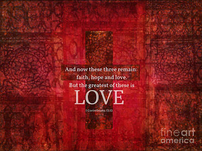 Christian Artwork Mixed Media - Inspirational Bible Verse About Love by Alley Costa