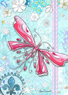 Passionate Painting - Inspirational Dragonfly Floral Fleur De Lis Art Sweet Charity By Megan Duncanson by Megan Duncanson