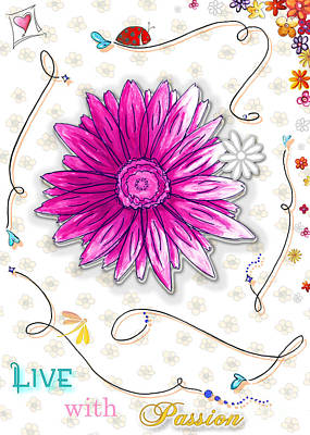 Hearts Painting - Inspirational Floral Art Quote Ladybug Dragonfly Painting Live With Passion By Megan Duncanson by Megan Duncanson
