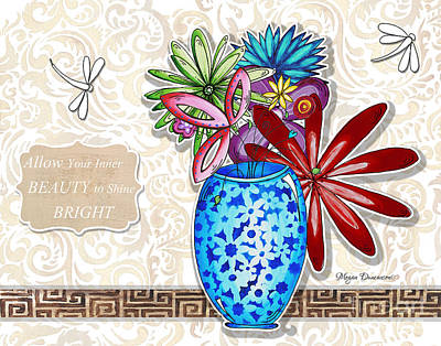 Inspirational Floral Dragonfly Painting Flower Vase With Quote By Megan Duncanson Art Print by Megan Duncanson