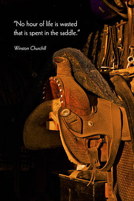 Photograph - Inspirational Greeting Card Leather Horse Saddle Tack Room Print  by Jerry Cowart