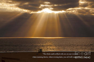 Photograph - Inspirational Sun Rays Over Calm Ocean Clouds Bible Verse Photograph by Jerry Cowart