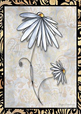 Believe Digital Art - Inspirational Uplifting Daisy Art Damask Pattern Happy Mothers Day By Megan Duncanson by Megan Duncanson
