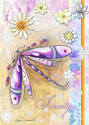 Colorful Art Painting - Inspirational Uplifting Dragonfly Art Flowers Serenity By Megan Duncanson by Megan Duncanson