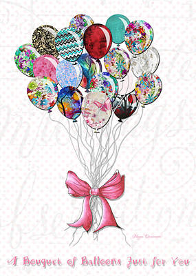 Inspirational Uplifting Floral Balloon Art A Bouquet Of Balloons Just For You By Megan Duncanson Art Print by Megan Duncanson