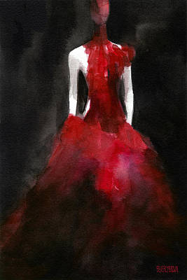 Red Painting - Inspired By Alexander Mcqueen Fashion Illustration Art Print by Beverly Brown Prints