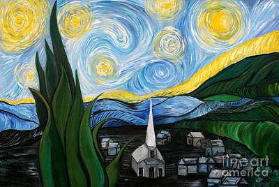 Inspired By Van Gogh Wall Art - Painting - Inspired By Van Goghs Starry Night  by Aimee Vance