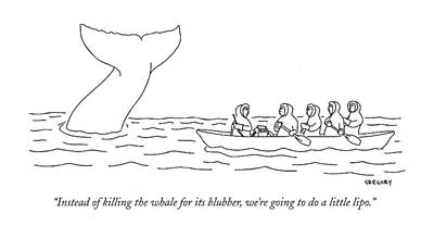 Paddle Boat Drawing - Instead Of Killing The Whale For Its Blubber by Alex Gregory