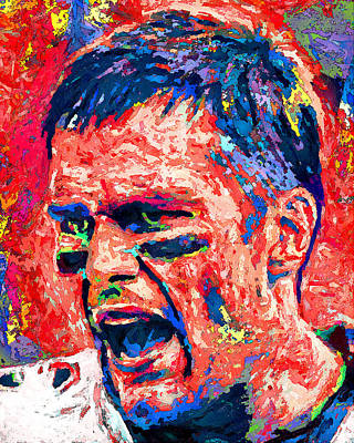 University Of Michigan Painting - Intense By Tom Brady by John Farr
