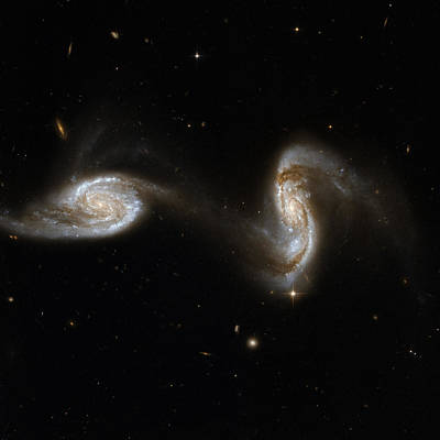 Interacting Pair Of Spiral Galaxies Art Print by Celestial Images