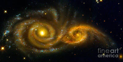 Photograph - Interacting Spiral Galaxies Ngc 2207 And Ic 2163  by Nicholas Burningham