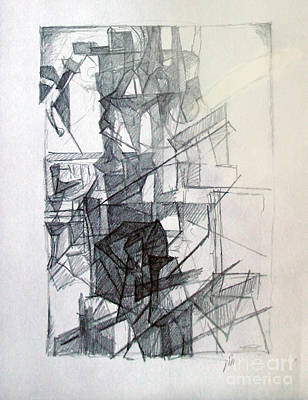 Creativity Drawing - Interchange Between Ambition And Restraint 1 by David Baruch Wolk