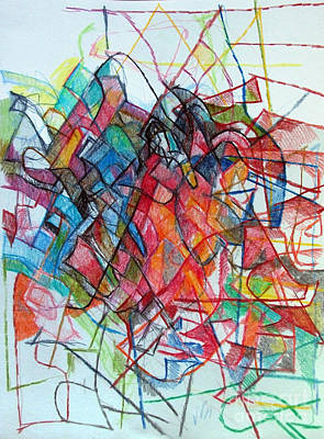 Creativity Drawing - Interchange Between Ambition And Restraint 3 by David Baruch Wolk