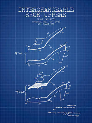 Footwear Digital Art - Interchangeable Shoe Uppers Patent From 1949 - Blueprint by Aged Pixel