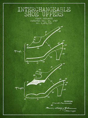 Interchangeable Shoe Uppers Patent From 1949 - Green Art Print by Aged Pixel