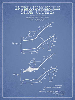 Interchangeable Shoe Uppers Patent From 1949 - Light Blue Art Print by Aged Pixel