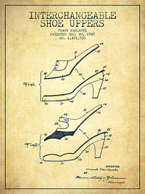 Shoe Digital Art - Interchangeable Shoe Uppers Patent From 1949 - Vintage  by Aged Pixel