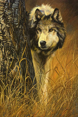 Gray Wolf Painting - Interested by Lucie Bilodeau